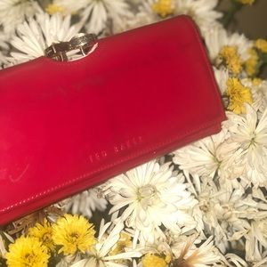 Ted Baker London red pleather wallet